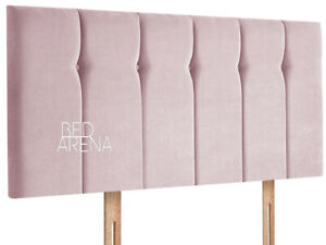 Plush Velvet Queen Style Headboard With Diamante & Buttons, All Sizes & Color