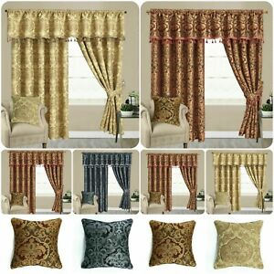 New Fully Lined Heavy Jacquard/Chenille Pencil Pleat Luxury Georgia Curtain Pair