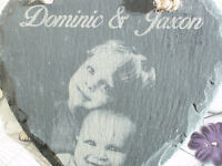 Christmas Gift Photo onto Slate Engraved Family Personalised for Memorial or art