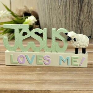 """Blossom Bucket Religious Figurine Sign """"Jesus Loves Me"""" with Lamb/Sheep"""