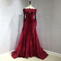 Burgundy Velvet Off Shoulder Mermaid Prom Dresses Detachable Train Evening Gown
