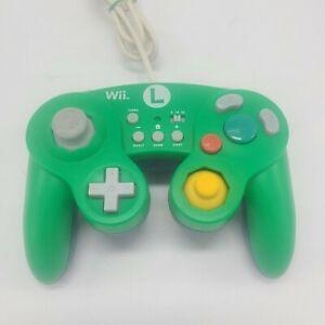 HORI Luigi Battle Pad Green Wired Controller for Nintendo Wii U - Tested