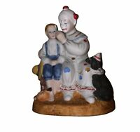 """Norman Rockwell Porcelain Runaway with Clown and Dog  6"""" Figurine"""
