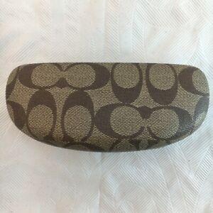COACH Eyeglasses Sunglasses Shades Hard Signature Brown Beige Tan Clam Case Snap