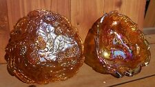 Marigold Carnivel Glass Berry Candy Dishes matching pair, Indiana Glass Co.