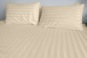 1800 Count Cotton Bamboo Feel Dobby Striped Sheet Set Deep Pockets 4 Piece Set