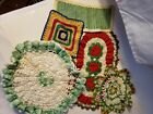 Lot+of+5+Crochet+Doilies+Colorful+Flowers+Round+Rectangle+Handmade+