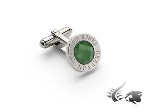 Graf von Faber-Castell Round Cufflinks, Platinum, Green Jade, 118972