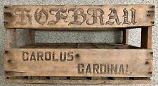 Vintage HOFBRAU Carolus Cardinal HANDMADE 24-Hole Wooden BELGIAN Beer Crate