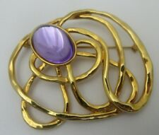 Euc Gold Tone Open Work 1992 Avon Golden Web Brooch Pin Purple Cabochon