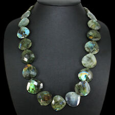 PREMIUM 612.05 CTS EARTH MINED RICH LABRADORITE PEAR FACETED BEADS NECKLACE