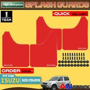 4x Red Front Rear Universal Splash Guards Mud Flap for Isuzu D-Max DMax Rodeo MU