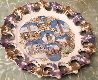 "Vtg New York City 1950s travel souvenir plate 8"" Gold detail lace edge"