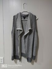 Gap Grey And White Sleeveless Cozy Knit Cardigan Size Medium