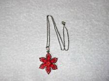 Ex-Display Rojo Collar De Flores Facetado Con Diamantes De Imitación