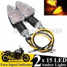 Pair 15LED Motorcycle Bike Turn Signal Lights Amber Indicators Blinker Lights