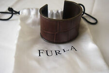 Furla metal and embossed leather cuff bracelet