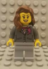 LEGO City Female Jacket Magenta Scarf Brown Hair Minifigure from 3182 Airport