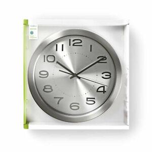 Retro 1960s Style Diner Circular Wall Clock 30cm Stainless Steel Kitchen Hallway