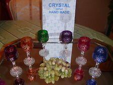 6 Römer - Likör - Kristallgläser - geschliffen im Set- 6 Farben - 24%Pb