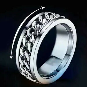 Cool Stainless Steel Band Ring Spinner Ring Chain Rings for Womens Mens Size 8