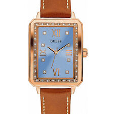 GUESS Ladies Fancy Crystal Glitz Watch, Rose Gold, Blue Dial, Tan Leather Strap
