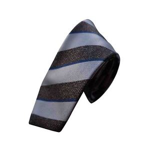 Brioni Mens Brown/Gold Thick Stripe Handmade Tie 100% Luxury Made in Italy