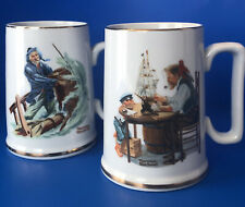 Vintage 1985 Norman Rockwell Collectors Mugs~ Lot Of 2 ~ Excellent Condition