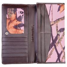 Browning Leather Ladies Continental Wallet, Mossy Oak Pink Camo Camouflage