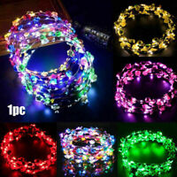 Party Glowing Crown Flower Headband Girls LED Lights Up Wreath Hairband Festival