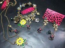 Betsey Johnson combination guitar sunflower necklace bracelet earrings