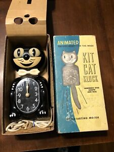 Mid 50's D3 BLACK ALLIED-ELECTRIC-KIT CAT KLOCK-KAT CLOCK-VINTAGE-WORKS