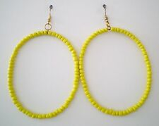 "Earrings Yellow Glass Beads Gold Plated No Stone Hoop 3.75"" Handmade GB USA New"
