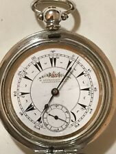 Key Wind Key Set Solid Silver Full Hunter Turkish Ottoman Pocket Watch Running