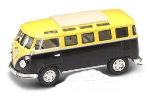VW T1 Microbus Jaune/Noir + Vitrine, Yat Ming Modèle 1:43
