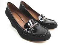 DONALD J PLINER Women's Size 6 M Black Patent Leather Slip On Loafer Wedge Shoes