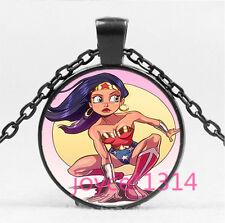 Wonder Woman Cabochon black Glass Chain Pendant Necklace HS-5783