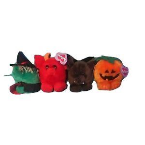 1994 Swibco Halloween Puffkins W/Tags Set of 4 (Witch Pumpkin Devil Bat Plush)