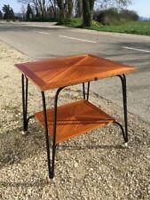Table roulante vintage en fer forgé et en bois