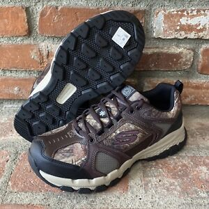 NEW Mens SKECHERS Work Queznell Hulen Camouflage LEATHER STEEL TOE Sneaker Shoes