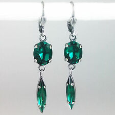 Ohrringe Ohrhänger lang Silber Swarovski Kristall Oval Navette Emerald grün
