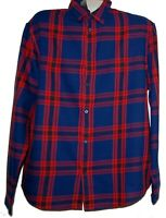 H&M Men's  Blue Red Plaid Cotton Shirt Size XL NEW