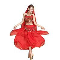 Arab Belly Dance Costume Top Belt Hip Scarf Skirt Outfit Set Bollywood Carnival
