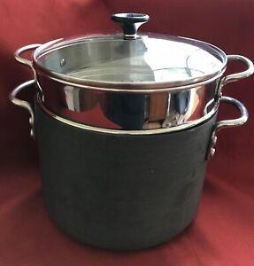 Heavy! Hard Anodized Non-Stick 8qt 8 QT Quart Stock Pot with Pasta Strainer &Lid