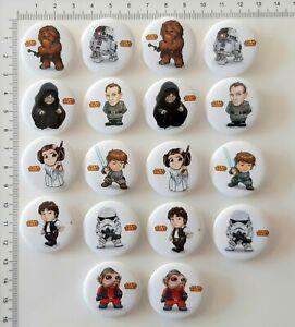 Star Wars Party Favours Badges 3cms diameter 18pces Han Luke Leia R2-D2 Chewwie
