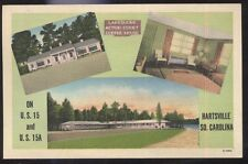 Postcard HARTSVILLE South Carolina/SC Lakeside Motel Motor Court Tri-view 1930's