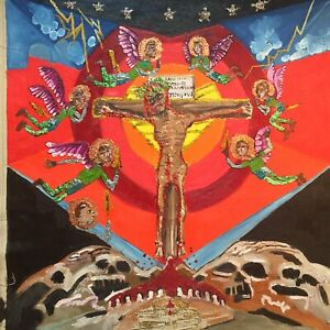 "30x30""Yahushua Calvary Primitive Outsider Rural Oil Mixed Media Canvas""Art"