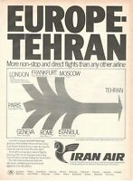1971 Original Advertising' Vintage Iran Air Airlines Company Aerial