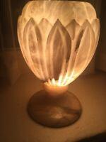 French Italian White Alabaster Marble Urn Lotus Mantle Hurricane Lamp France