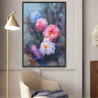 """Hand-painted Original Oil Painting art Impressionism Floral on canvas 24""""x36"""""""